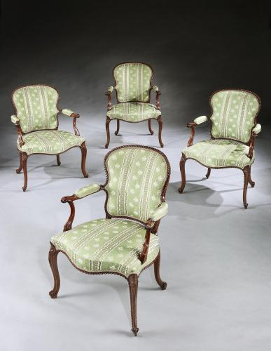John Cobb: A Set of Four George III Mahogany Armchairs