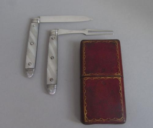 A Very Fine George III Folding Fruit Knife & Fork made most probably in Sheffield circa 1786-90