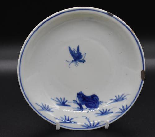 Tianqi period blue and white frog and fly dish