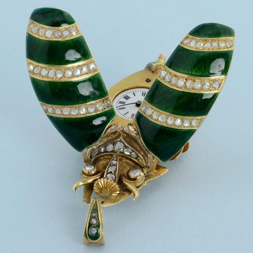 Gold and Enamel Beetle Form Watch