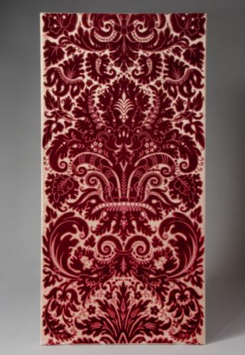 A Pair of Red Cut Velvet Panels