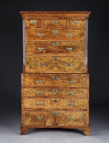 A George I Burr Walnut Chest on Chest