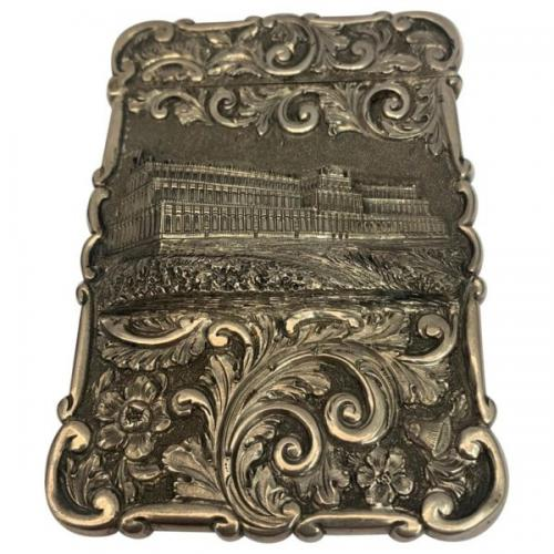 Antique Silver card case depicting Crystal Palace London