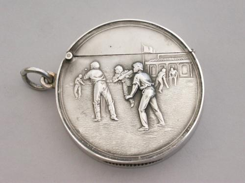 Large Edwardian Circular Silver Vesta Case - Cricket Match