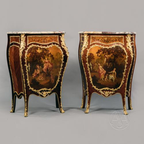 A Fine Pair Of  Louis XV Style Gilt-Bronze Mounted Bombé Side Cabinets With Vernis Martin Panels.  French, Circa 1900.