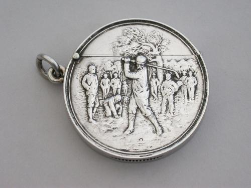Large Edwardian Circular Silver Vesta Case - Golf