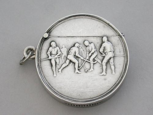 Edwardian Circular Silver Vesta Case - Hockey Players