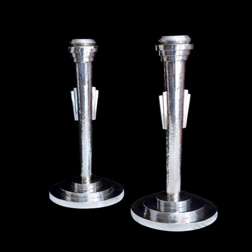 Art deco silver candlesticks