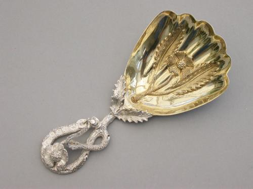 Victorian Silver Caddy Spoon with Gilded Fluted Bowl