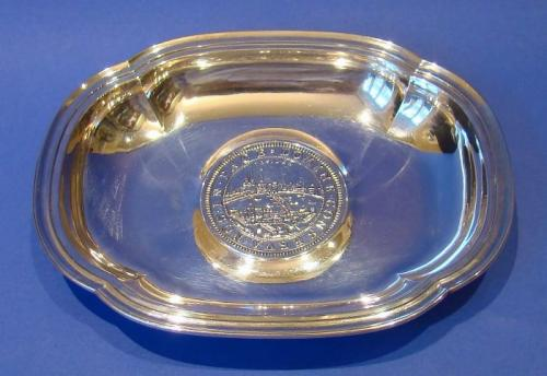 Swiss Sterling Silver Dish with Coin Base