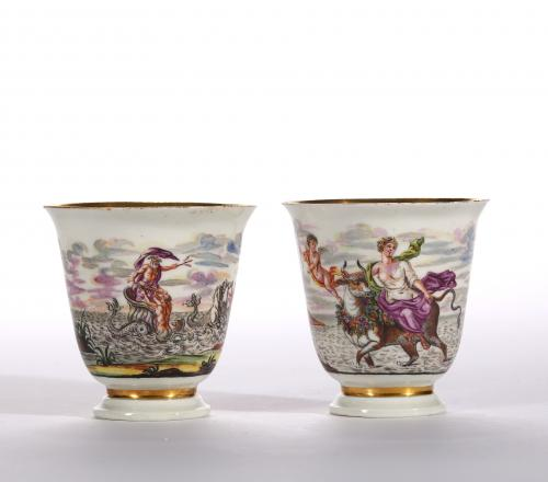 Two Hausmaler Decorated Early Meissen Beaker