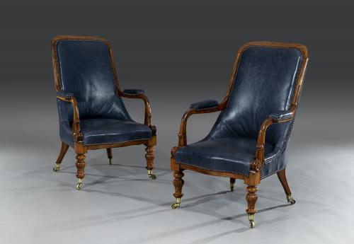 Pair of Early 19th Century Regency Period Goncalo Alves Easy Armchairs