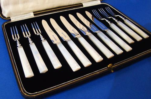 Art Deco Silver & Mother of Pearl Fruit Knives & Forks