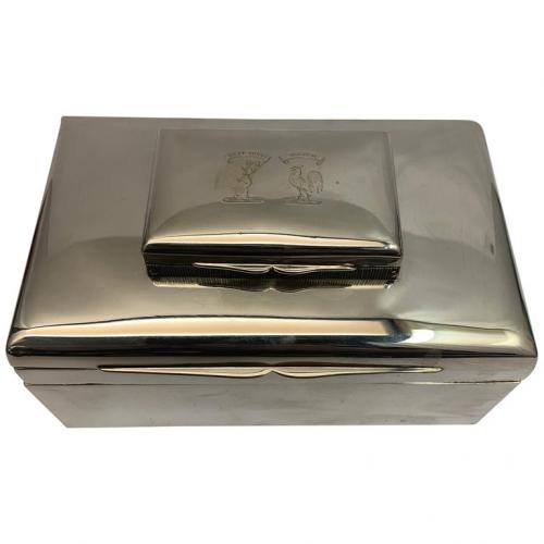 Silver Rectangular Stacking Boxes with Top Hinged Compartment