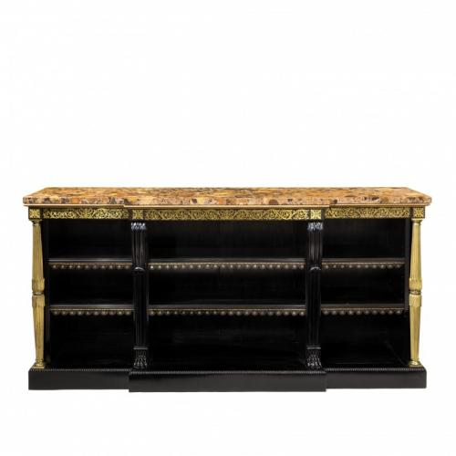 A Regency brass-inlaid ebonized breakfront bookcase