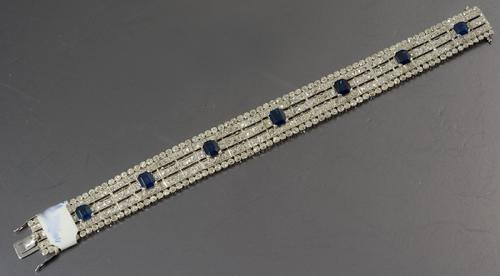 Platinum set Edwardian natural Burmese sapphire and diamond bracelet