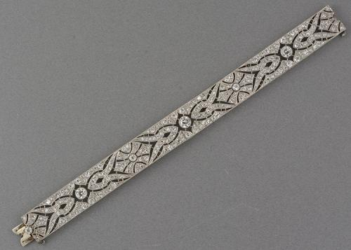Edwardian fine diamond filigree platinum Bracelet