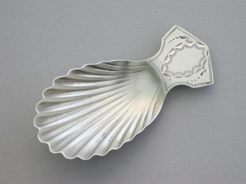 Small George III Silver Shell Bowl Caddy Spoon
