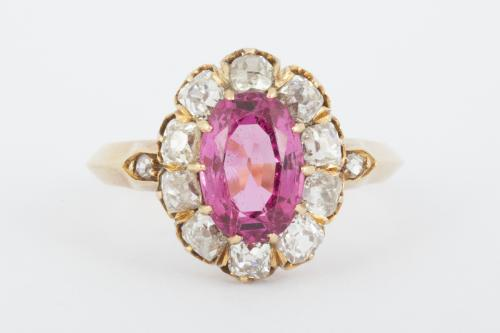Antique Pink Spinel/Topaz and Diamond Oval Cluster Ring in 18 Carat Gold, English circa 1865