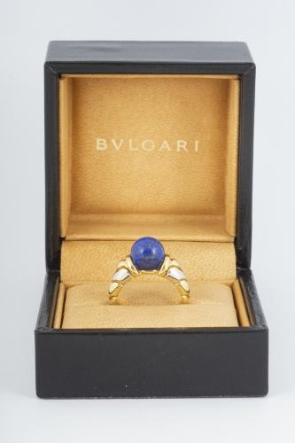Vintage Bulgari Yellow and White Gold Ring with Lapis Lazuli Centre, Italian circa 1970