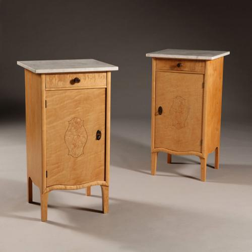 A Pair of Early 20th Century Swedish Birch Bedside Tables