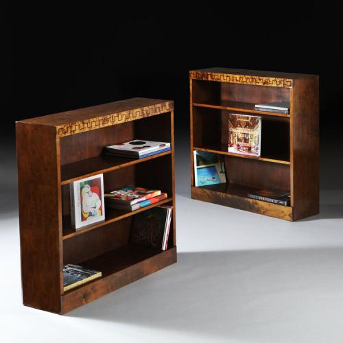 A Pair of Tiger Maple Swedish Grace Bookcases