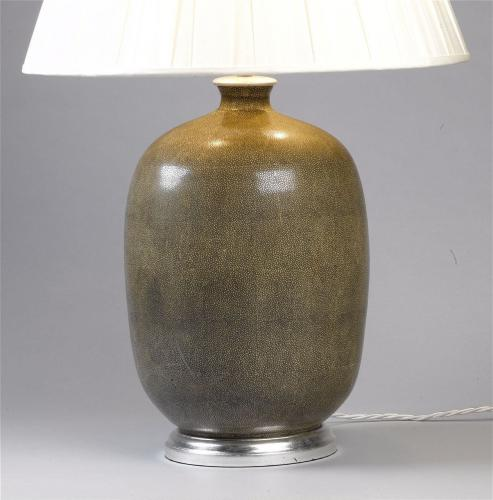 Olive 'Shagreen' Lamps