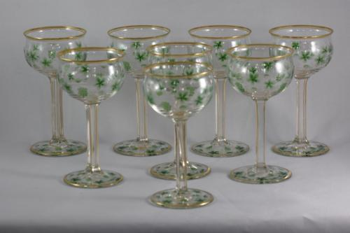 8 Art Nouveau wine glasses