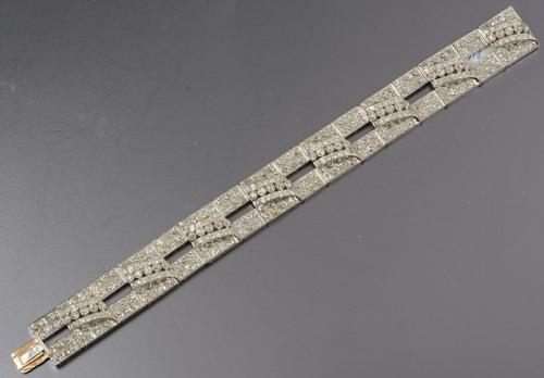 Platinum Set Art Deco Wide Multi Layered Bracelet