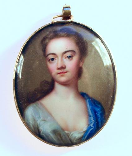 A Portrait Miniature Of A Lady, Christian Frederick Zincke, circa 1720