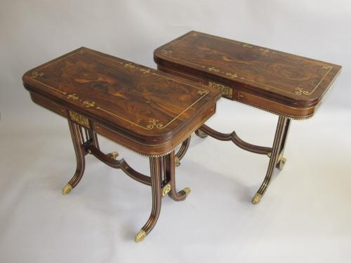 Pair Regency rosewood & brass inlay card tables, circa 1815.