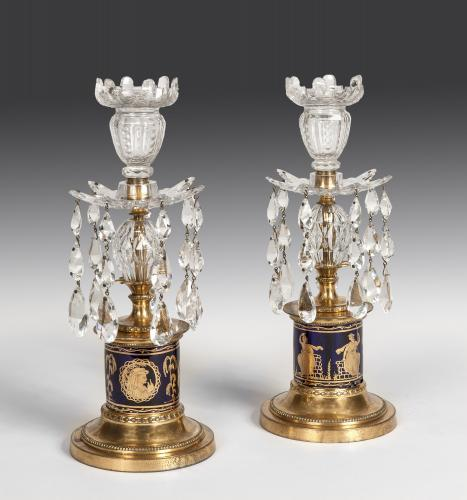 Pair of George III Period 18th Century Ormolu & Glass Candlestick Lustres English Circa 1800
