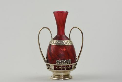 Rare Loetz Melusin vase with silver mount for Lobmeyer