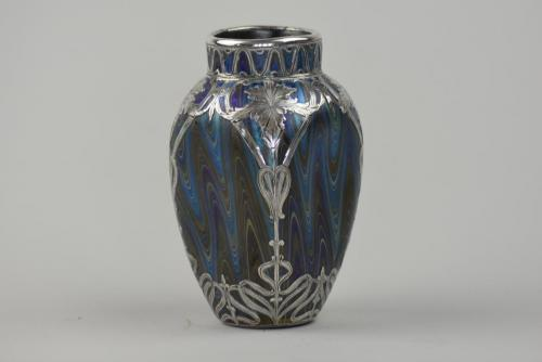Loetz Phanomen vase with silver overlay