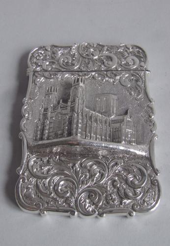 A very rare Castle Top Card Case, York Minster, made in Birmingham in 1843 by Nathaniel Mills