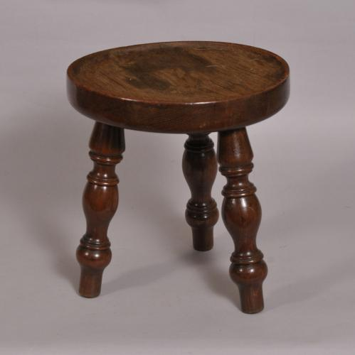 S/3757 Antique 19th Century Oak Dished Top Stool