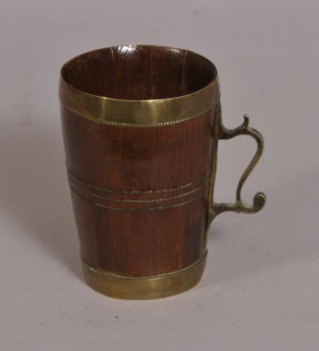 S/3759 Antique Treen 19th Century Cedar Wood Staved Tankard