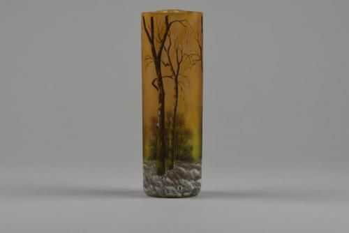 Daum winter landscape vase with trefoil top