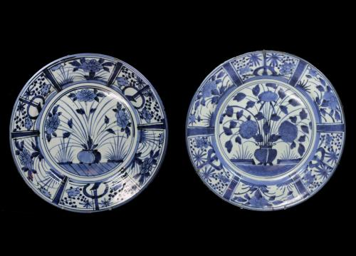 A Matched Pair of Japanese Blue and White Arita Dishes