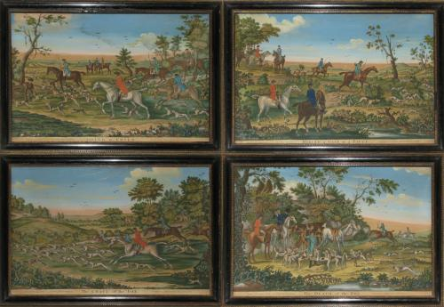 Carington Bowles: a set of four Fox Hunting Scenes c.1775