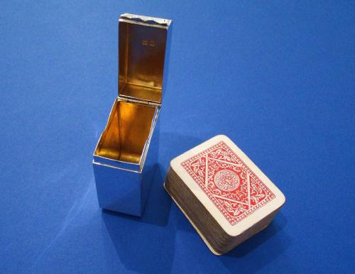 Small Silver Travelling Playing Card Box