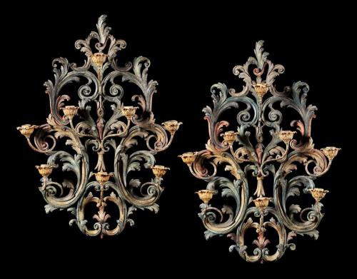 A Pair of Painted Wall Appliques