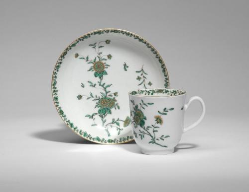 A Worcester Cup and Saucer with Chrysanthemums