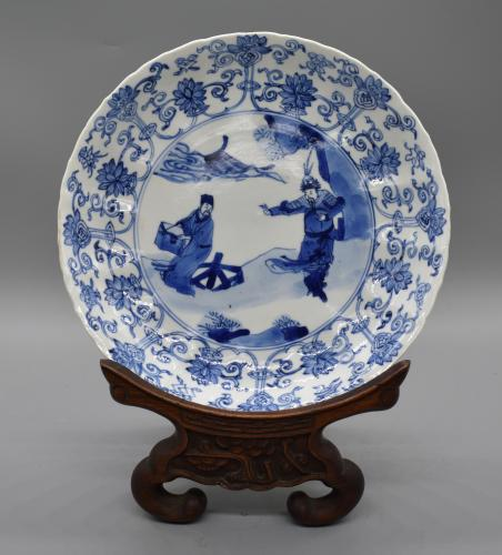 A Kangxi Mark and Period Blue and White Figure Dish