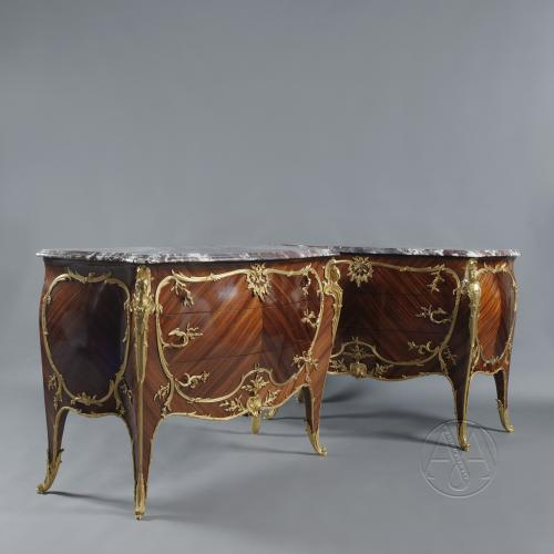 Pair of Louis XV Style Gilt-Bronze Mounted Marble Top Commodes by François Linke