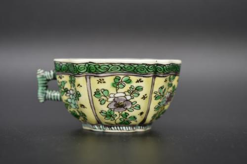 A small sancai cup with handle