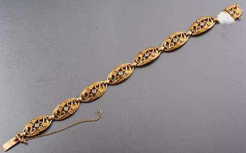 French 18ct gold and rose diamond bracelet