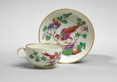A Worcester Cup and Saucer with Exotic Birds