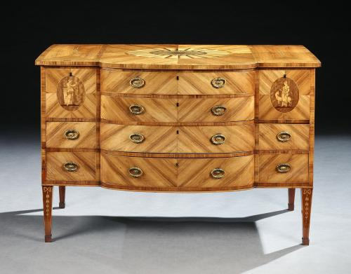 Buxted Park: A George III Tulipwood and Sycamore Marquetry Commode