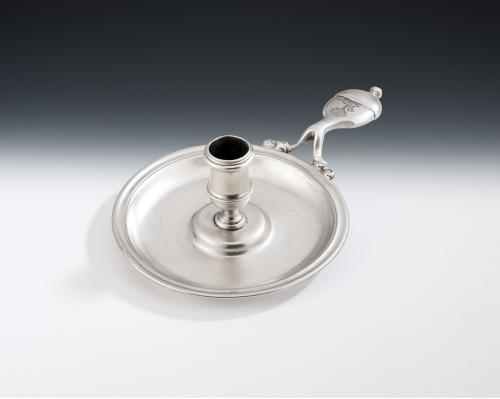 An extremely rare George I Chamber Candlestick made in London in 1726 by the rare Huguenot silversmith, Abraham Buteux